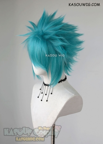 "S-5 KA059 31cm / 12.2"" short teal blue green spiky layered cosplay wig"