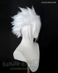 "S-5 KA001 31cm / 12.2"" short snow white spiky layered cosplay wig"