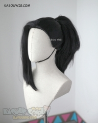 My Hero Academia Yaoyorozu Momo black thick ponytail cosplay wig . KA032