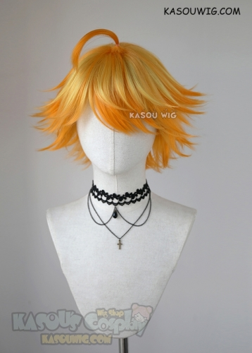 The Promised Neverland Emma short flippy yellow orange ombre cosplay wig