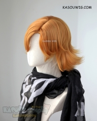 RWBY Nora Valkyrie short flippy orange wig with side parted bangs