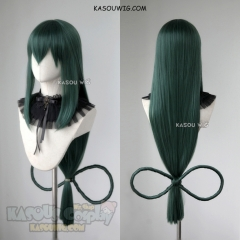 "90cm / 35.5"" My Hero Academia long Tsuyu Asui green cosplay wig with bow"