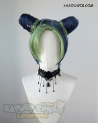 JOJO  JoJo's Bizarre Adventure Jolyne Kujoh blue green cosplay wig with buns
