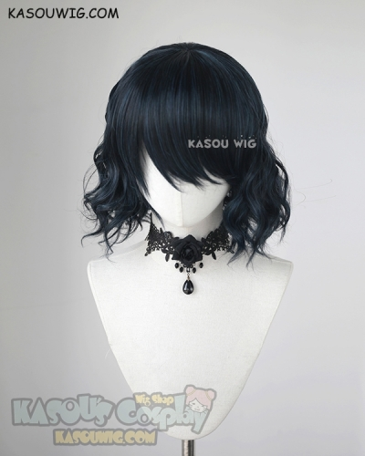 S-4 / KA052 black blue loose beach waves lolita . harajuku wig with bangs .35cm