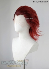 Lace Front>> Kingdom Hearts Axel slicked back brown-red ombre cosplay wig