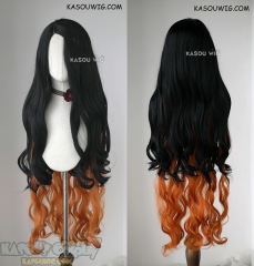 Kimetsu no Yaiba Demon Slayer Nezuko Kamado long wavy black hair with orange ends