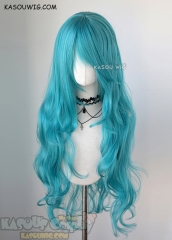 L-3 / KA059 teal blue green long layers loose waves cosplay wig . heat-resistant fiber