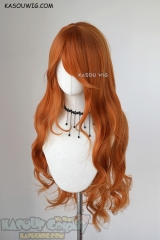 L-3 / KA021 burnt orange long layers loose waves cosplay wig . heat-resistant fiber