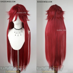 "100cm / 39.5"" Black Butler / Kuroshitsuji Grell Sutcliff pre-styled long dark red layers cosplay wig"