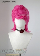JOJO JoJo's Bizarre Adventure Trish Una pink layered wig with a bun
