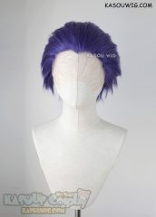 Lace Front>> My hero academia Shinsou Hitoshi purple all back spiky cosplay wig. LFS-1
