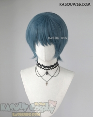Fire Emblem Three Houses Byleth male short bowl cut layered grayish blue cosplay wig