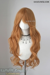L-3 /  SP19 pastel orange long layers loose waves cosplay wig . heat-resistant fiber