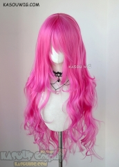 L-3 / KA035 deep pink long layers loose waves cosplay wig . heat-resistant fiber