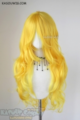 L-3 / SP35 bright yellow long layers loose waves cosplay wig . heat-resistant fiber