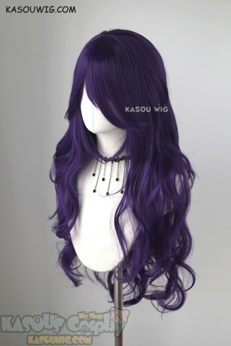 L-3 / SP37 Indigo Purple long layers loose waves cosplay wig . heat-resistant fiber