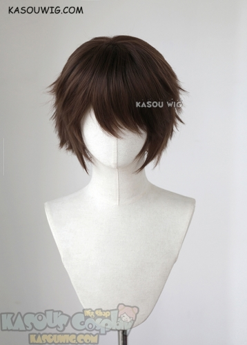 "S-1 / KA028>>31cm / 12.2"" short Bistre Brown layered wig, easy to style,Hiperlon fiber"