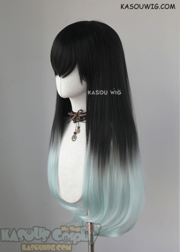Kimetsu no Yaiba Demon Slayer Muichiro Tokito long straight black mint ombre cosplay wig