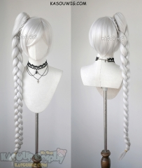 RWBY Weiss Schnee silver white long braided ponytail cosplay wig
