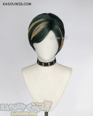 My Hero Academia MHA Mirai Sasaki Nighteye deep green cosplay wig with yellow streaks