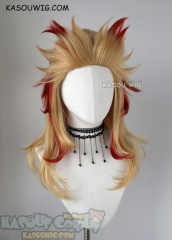 Kimetsu no Yaiba Demon Slayers Kyojuro Rengoku layered golden wig with red streaks