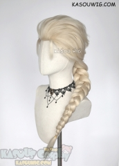 Frozen Queen Elsa pale blonde long braid cosplay wig