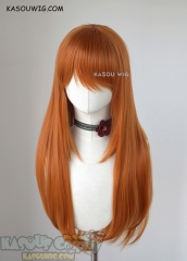 L-2 / KA021 burnt orange 75cm long straight wig . Heating Resistant fiber
