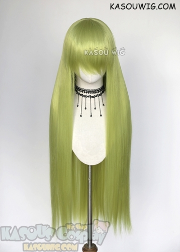 "L-4  yellowish green Fate GO Enkidu 100cm / 39.5""long straight versatile cosplay wig"