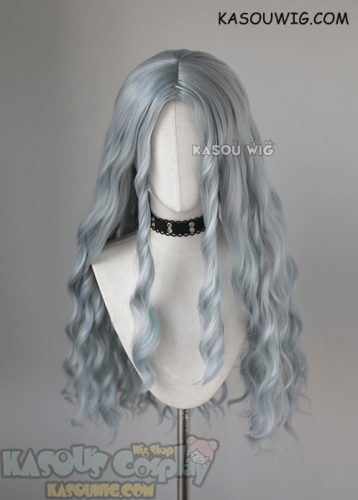 My Hero Academia MHA Eri long grayish blue middle-parted wavy cosplay wig