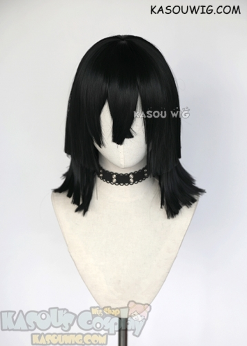 Kimetsu no Yaiba Demon Slayers Obanai Iguro black pre-cut shoulder length cosplay wig