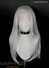 Lace Front>>  Voltron Prince Lotor silver white 72cm long slicked-back straight cosplay wig KA002