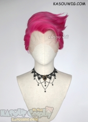 Lace Front>> Overwatch Zarya short pre-styled pink cosplay wig