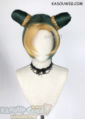 JOJO JoJo's Bizarre Adventure Jolyne Kujoh yellow green cosplay wig with buns