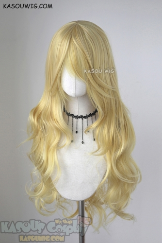 L-3 / KA010 light yellow blonde long layers loose waves cosplay wig . heat-resistant fiber