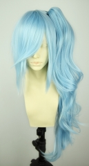 Panty and Stocking with Garterbelt Kneesocks baby blue Cosplay Wig with long bangs + wave clip