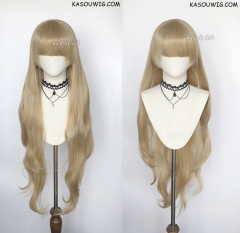 Gosick Victorique De Blois ash blonde 110cm long wavy cosplay wig blunt cut bangs