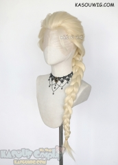Lace Front>>Frozen Queen Elsa pale blonde long braid cosplay wig