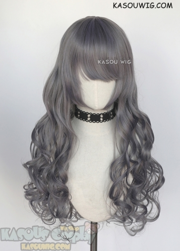 75cm long curly purplish gray cosplay wig. L-1 style