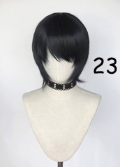 Short bluish black cosplay wig