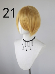 S-2 Style Golden short bob smooth cosplay wig with long bangs .