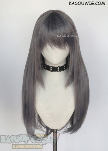 75cm long straight purplish gray cosplay wig. L-2 style