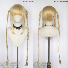 Darwin's Game Karino Shuka 100cm/39.4'' long yellow blond braids wig