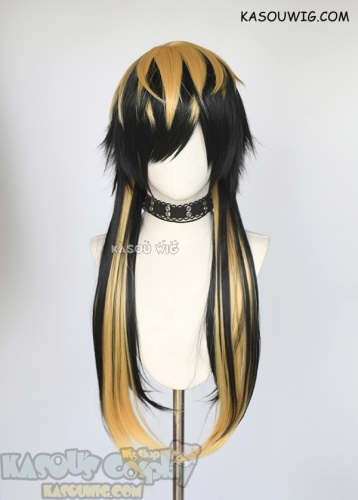 Hypnosis Mic Bad Ass Temple Jyushi Aimono 75cm/ 29.5''long black wig with yellow streaks
