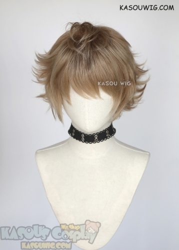 Twisted Wonderland Ruggie Bucchi light brown short cosplay wig with darker roots