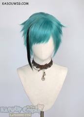 Twisted Wonderland Jade Leech/Floyd Leech short teal wig with a clip on black strand