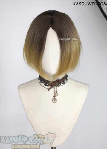Haikyuu Kozume Kenma short blonde wig with deep brown roots