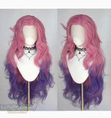 Lace Front>>League of Legends Seraphine pink purple ombre cosplay wig 98cm
