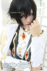 Code Geass Lelouch short black layered cosplay wig with bangs ( KA032 )