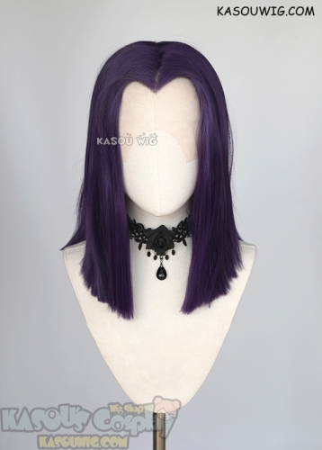 Lace Front>> Teen Titans Raven medium length blackish purple wig . 42cm