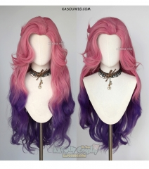 League of Legends Seraphine pink purple ombre cosplay wig 98cm